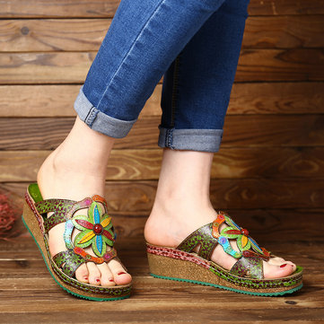 Hand painted Floral Leather Sandals