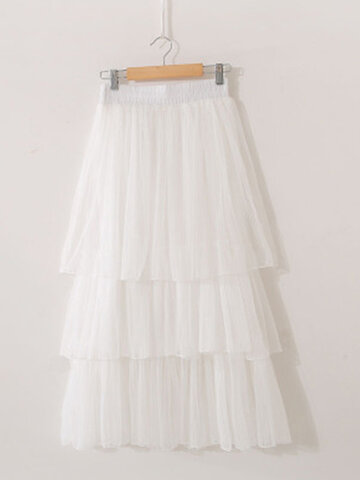 Solid Color Mesh Pleated Casual Skirts