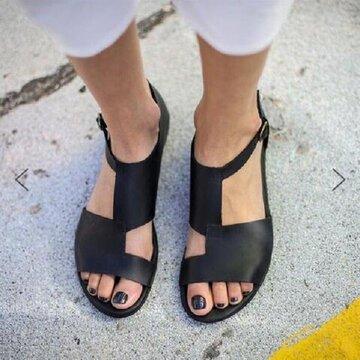 Buckle Black Flat Sandals
