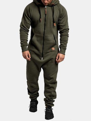 Solid Color Fleece Zipper Front Jumpsuit