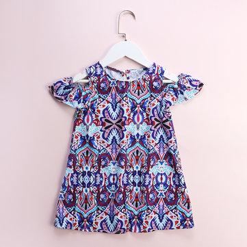 Bohemian Print Girls Dresses For 4-13Y