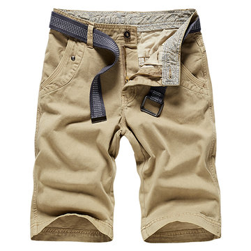 Summer Cotton Solid Color Regular Fit Knee Length Casual Cargo Shorts for Men