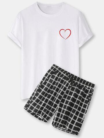 Print Black Plaid Pajama Sets