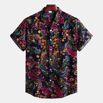 Floral Printing Short Sleeve Lapel Shirt