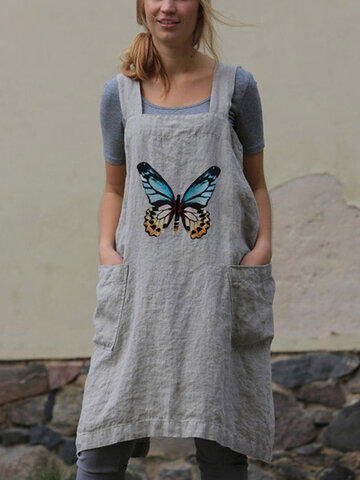 Personality Butterfly Linen Square Neck Cross Back Apron Anti-fouling Kitchen Cooking Garden Vest Apron