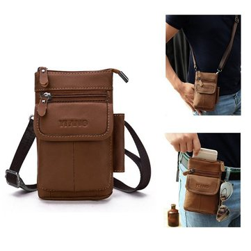 Men Vintage Genuine Leather Multifunctional Phone Bag Crossbody Bag