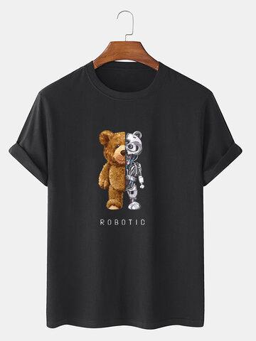 100% Cotton Bear Graphics T-Shirt