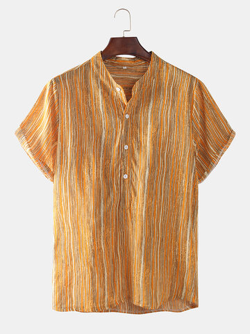 Mens Yellow Striped Printed Shirts
