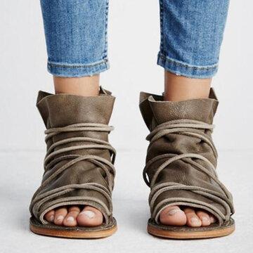 Peep Toe Lace Strap High Top Flat Sandals