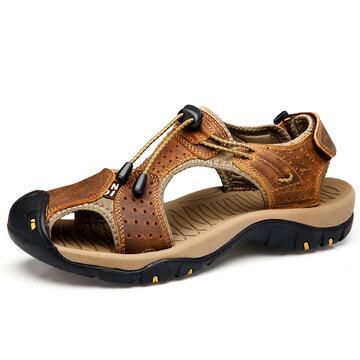 Sandálias de Genuine Couro Anti-collisão Cordão Outdoor tamanho grande para homens