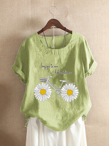 Funny Daisy Floral Bike Printed T-shirt