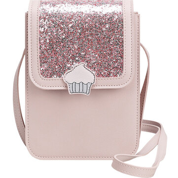 Women Sequin Leisure Cute Crossbody Bag 3 Layer Phone Bag