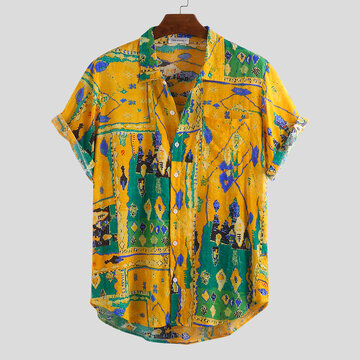 Mens Summer Graffiti Printed Loose Shirts