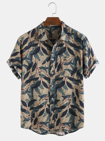 Mens Vintage Gentlemenlike 100% Cotton Branches Printed Chest Pocket Shirts