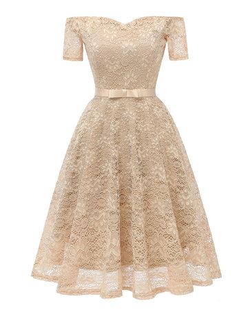 One-Shoulder Jacquard Lace Dress