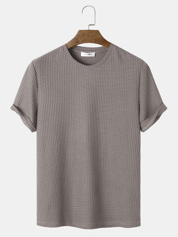 Plain Knitted Waffle T-Shirt
