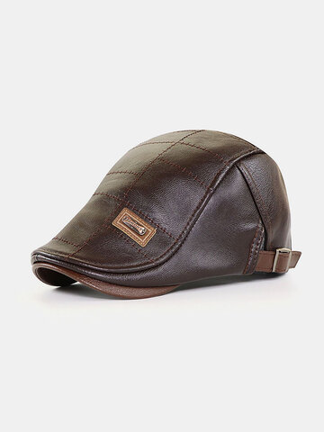 COLLROWN Men's Leather Beret Hat Casual Berets Warm Flat Caps