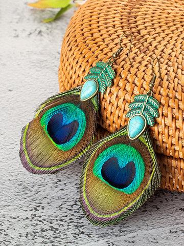 Alloy Peacock Feather Earrings