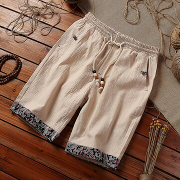 Mens Chinese Style Cotton Linen Vintage Baggy Shorts