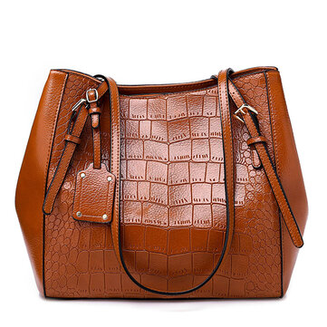 Women Crocodile Pattern Oil Wax Bucket Bags