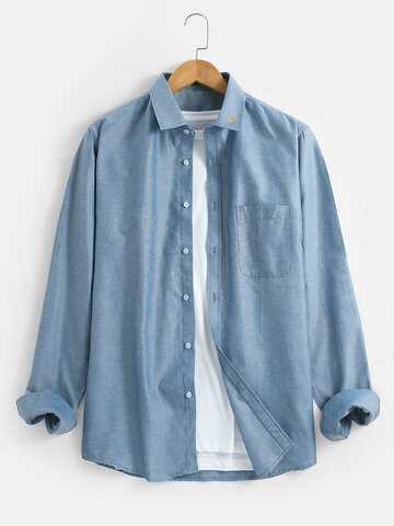 Solid Color Lapel Cotton Shirts