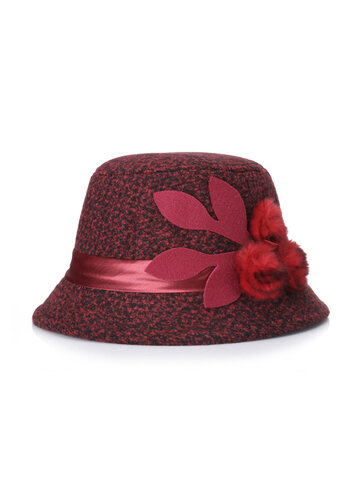 قبعة زفاف نسائية من الصوف مع زهرة