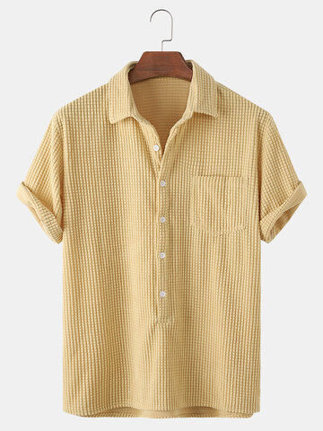 Solid Color Casual Henley Shirts