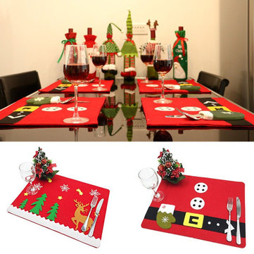 Christmas Party Dinner Tableware Mat Pad Dish Bowl Fork Placemat Runner Table Decoration