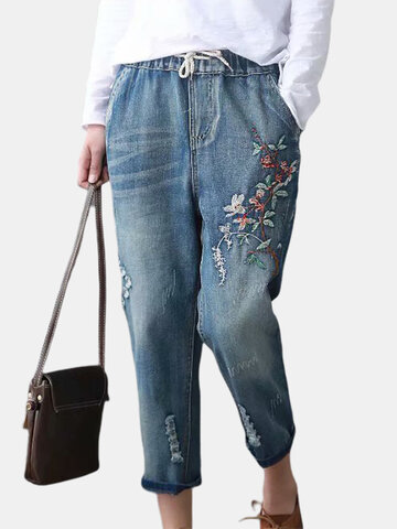 Lässige Stickerei Distressed Denim