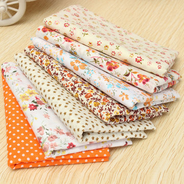 7 Pcs 50x50cm Orange Series Cotton Cloth Baby Toy Material Sewing Dolls Crafts
