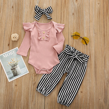 Baby Tops+Striped Pants Set For 6-24M