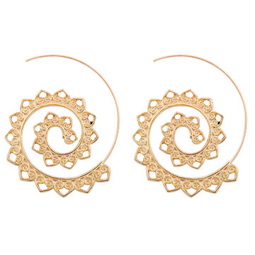 Exaggerated Spiral Dangle Earrings