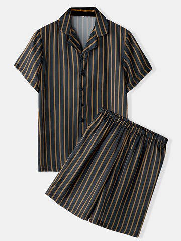 Stripe Print Faux Silk Pajamas