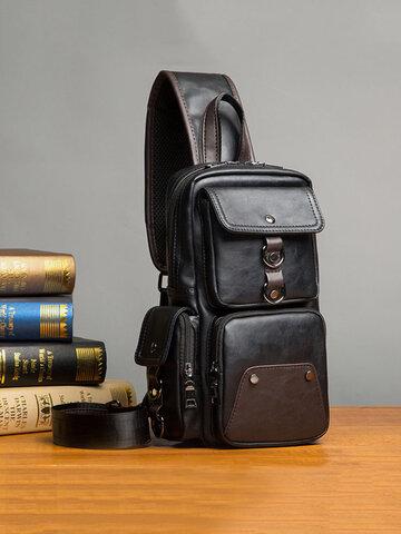 Big Capacity Chest Bag PU Leather Crossbody Bag