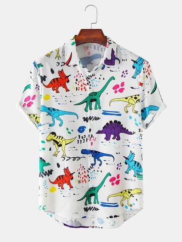 漫画Colorful恐竜プリントシャツ