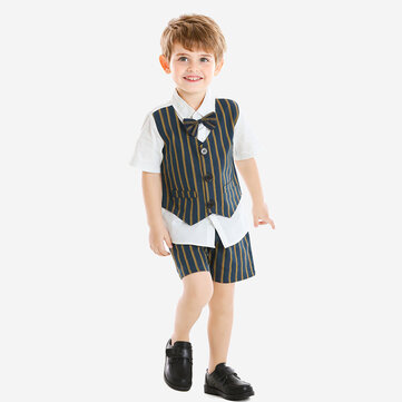 Boy's Striped Waistcoat T-shirt +Pants Suit For 1-8Y