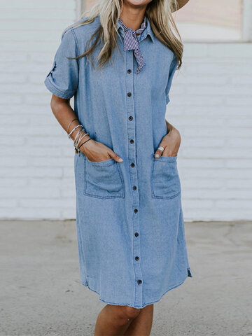 Summer Solid Color Denim Loose Dress