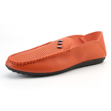 Men Leather Stitching Casual Loafers фото