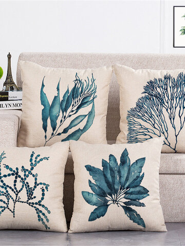 Blue Leaves Pattern Cushion Cover