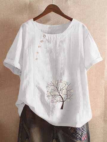 Print Flowers Button T-shirt