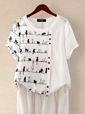 Cartoon Cat Print T-shirt