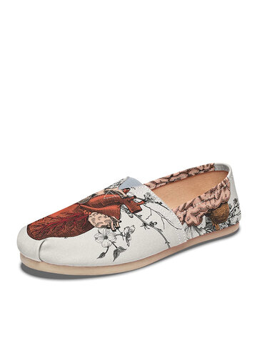 Flowers Printing Cloth White Flat Loafers