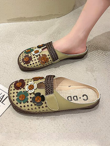Hollow Flowers Closed Toe Backless Flats