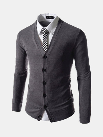 Mens Fashion Business Solid Slim Fit Knit Cardigan