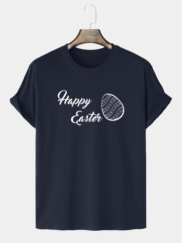 Happy Easter Egg Print T-Shirts