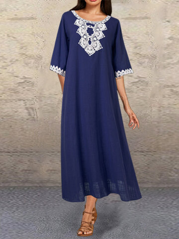 Embroidery Solid Patchwork Dress