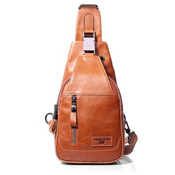 Ekphero Men Genuine Leather Shoulder Bag Vintage Chest Bags