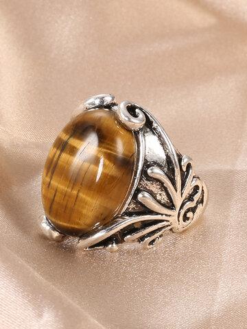 Tiger Eye Stone Finger Ring