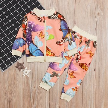 Butterfly Print Girls Set For 1-5Y