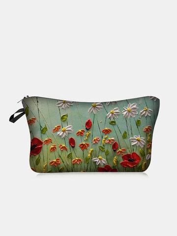 Colored Flower Makeup Bag